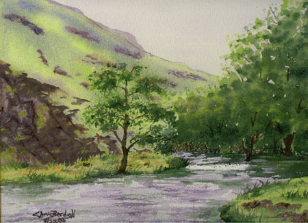 """Dovedale Stream"" Watercolor Painting"