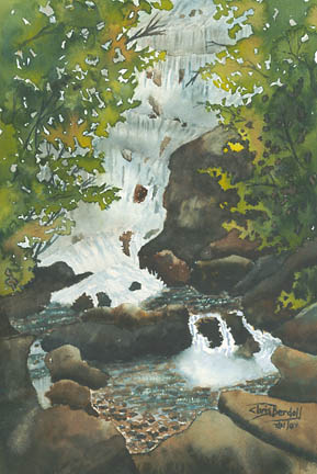 """Waterfall, Co. Kerry"" Watercolor Painting"