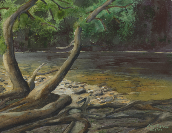 """Rainforest Pool, Maui"" Watercolor Painting"