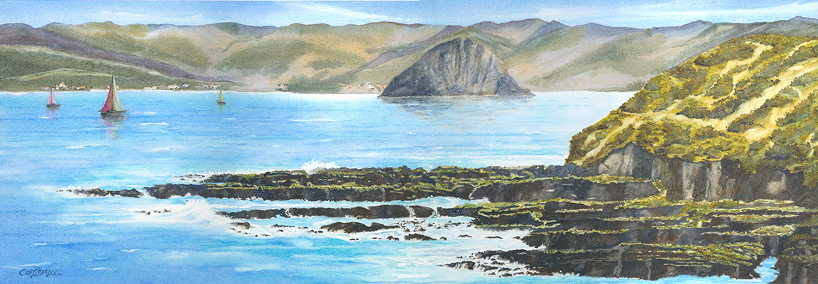 """Morro Rock From Montana De Oro"" Watercolor Painting"