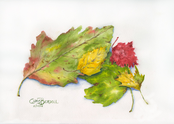 """Autumn Leaves Study"" Watercolor Painting"