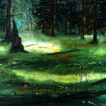 """""""Old Growth Light Games"""" Watercolor Painting"""