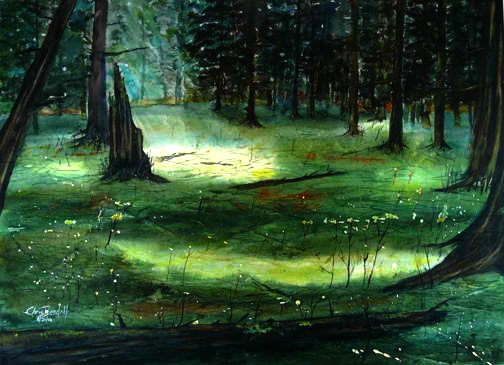 """Old Growth Light Games"" Watercolor Painting"
