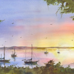 """Backbay Sunset"" Watercolor Painting"