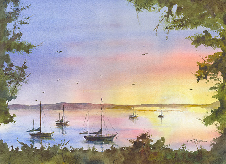 """Backbay Sunset"" Watercolor Painting"