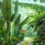"""""""Tropical Garden, Maui"""" Watercolor Painting"""