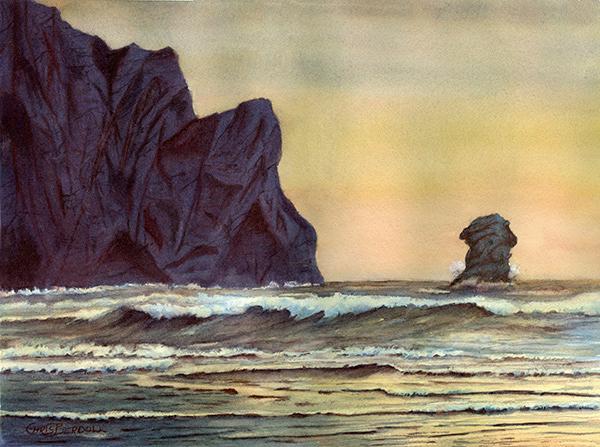 """Dusk at Morro Rock"" Watercolor Painting"