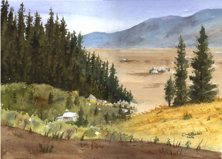 """Mountain Valley Study"" Watercolor Painting"