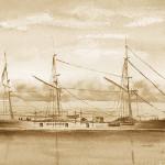 """""""Civil War Ship Draft"""" Watercolor Sketch"""