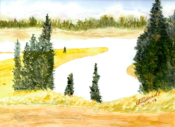 My first attempt at watercolor with no instruction.  Not horrible, but not great!