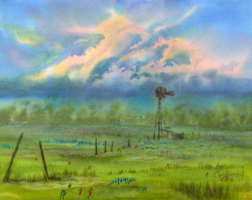 """""""Texas Storm"""" Commissioned Watercolor Painting"""